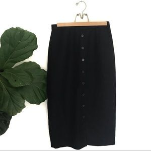Vintage Black Linen Blend Button Front Midi Skirt!